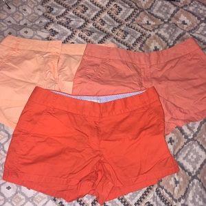 (3) J Crew chino shorts